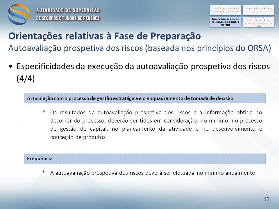 Especificidades da execução da autoavaliação prospetiva dos riscos (4/4) 93 Orientações relativas à Fase de Preparação Autoavaliação prospetiva dos riscos (baseada nos princípios do ORSA) Disposições gerais aplicáveis às orientações preparatórias Especificidades do grupo no âmbito da execução da autoavaliação prospetiva dos riscos Autoavaliação prospetiva dos riscos Especificidades da execução da autoavaliação prospetiva dos riscos Articulação com o processo de gestão estratégica e o enquadramento de tomada de decisão Frequência *Os resultados da autoavaliação prospetiva dos riscos e a informação obtida no decorrer do processo, deverão ser tidos em consideração, no mínimo, no processo de gestão de capital, no planeamento da atividade e no desenvolvimento e conceção de produtos *A autoavaliação prospetiva dos riscos deverá ser efetuada no mínimo anualmente