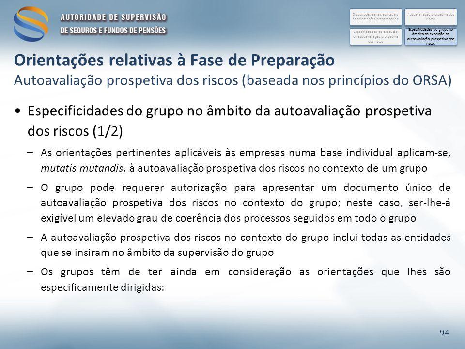 Especificidades do grupo no âmbito da autoavaliação prospetiva dos riscos (1/2) –As orientações pertinentes aplicáveis às empresas numa base individua