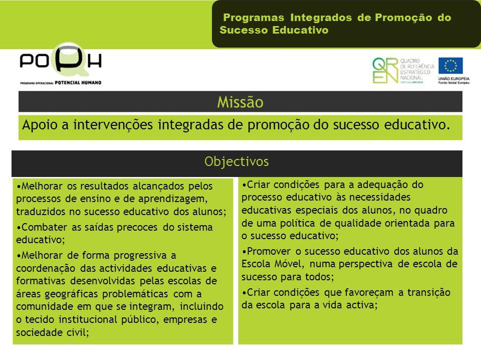 Programas Integrados de Promoção do Sucesso Educativo Melhorar os resultados alcançados pelos processos de ensino e de aprendizagem, traduzidos no suc