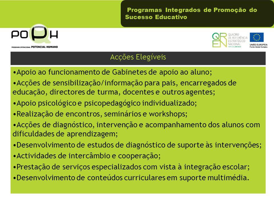 Programas Integrados de Promoção do Sucesso Educativo Acções Elegíveis Apoio ao funcionamento de Gabinetes de apoio ao aluno; Acções de sensibilização