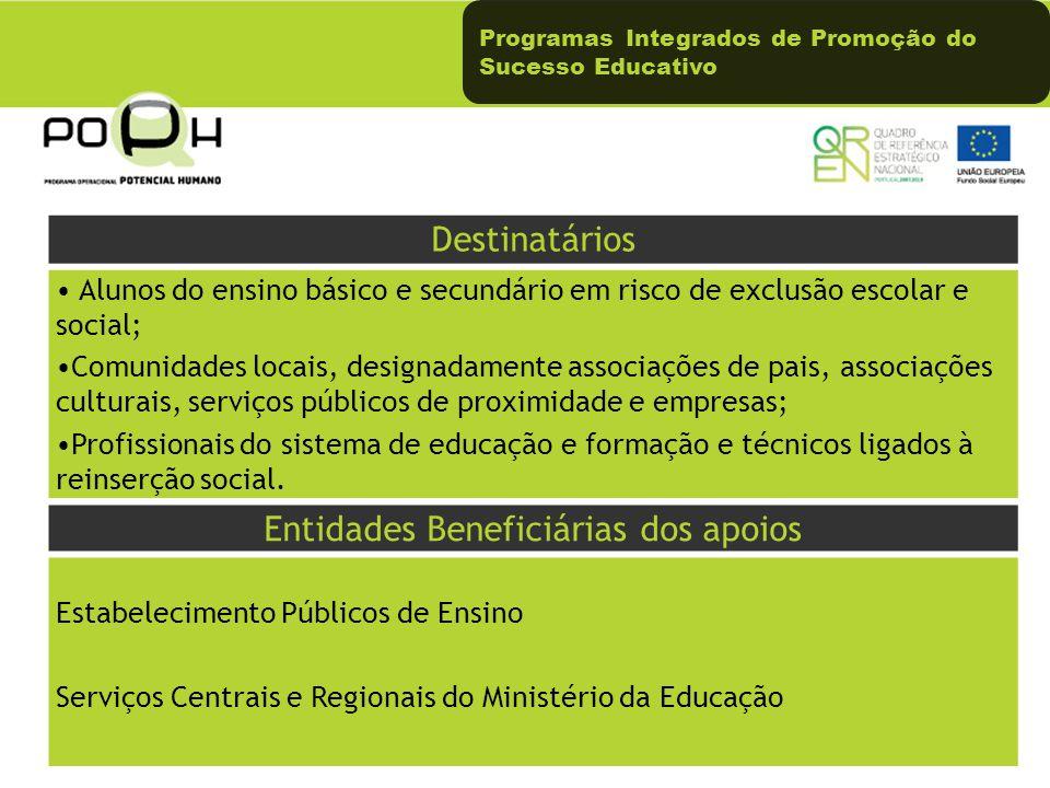 Programas Integrados de Promoção do Sucesso Educativo Destinatários Alunos do ensino básico e secundário em risco de exclusão escolar e social; Comuni