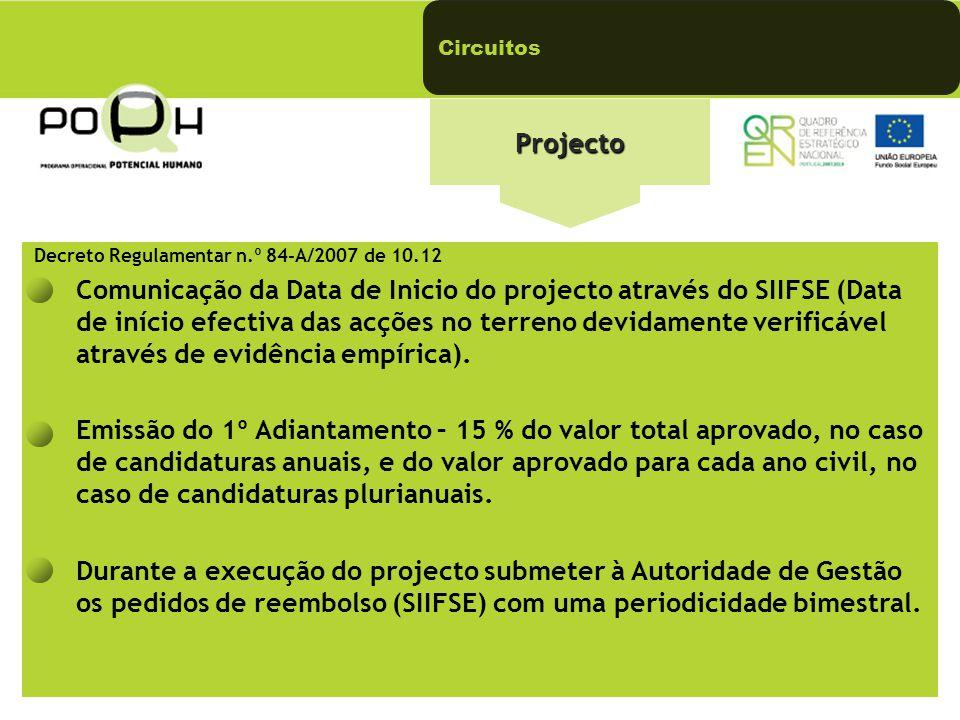 Projecto Decreto Regulamentar n.º 84-A/2007 de 10.12 Comunicação da Data de Inicio do projecto através do SIIFSE (Data de início efectiva das acções no terreno devidamente verificável através de evidência empírica).