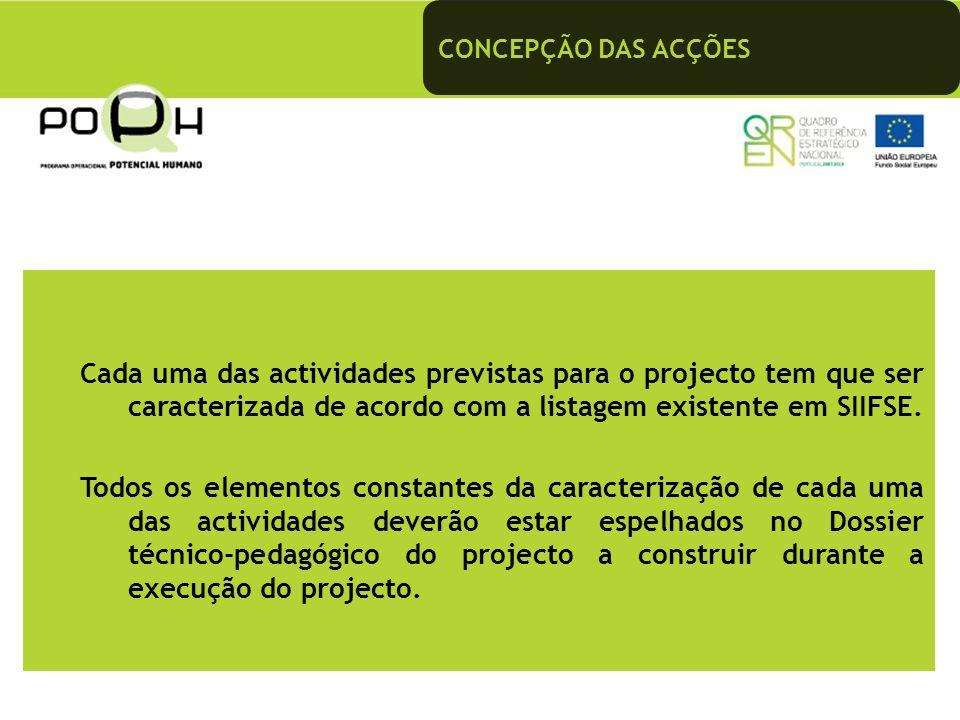 CONCEPÇÃO DAS ACÇÕES Cada uma das actividades previstas para o projecto tem que ser caracterizada de acordo com a listagem existente em SIIFSE. Todos
