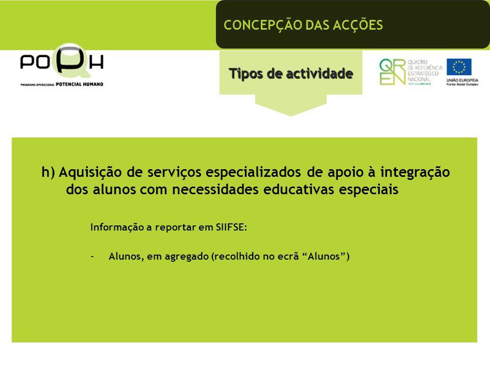 CONCEPÇÃO DAS ACÇÕES Tipos de actividade h) Aquisição de serviços especializados de apoio à integração dos alunos com necessidades educativas especiai