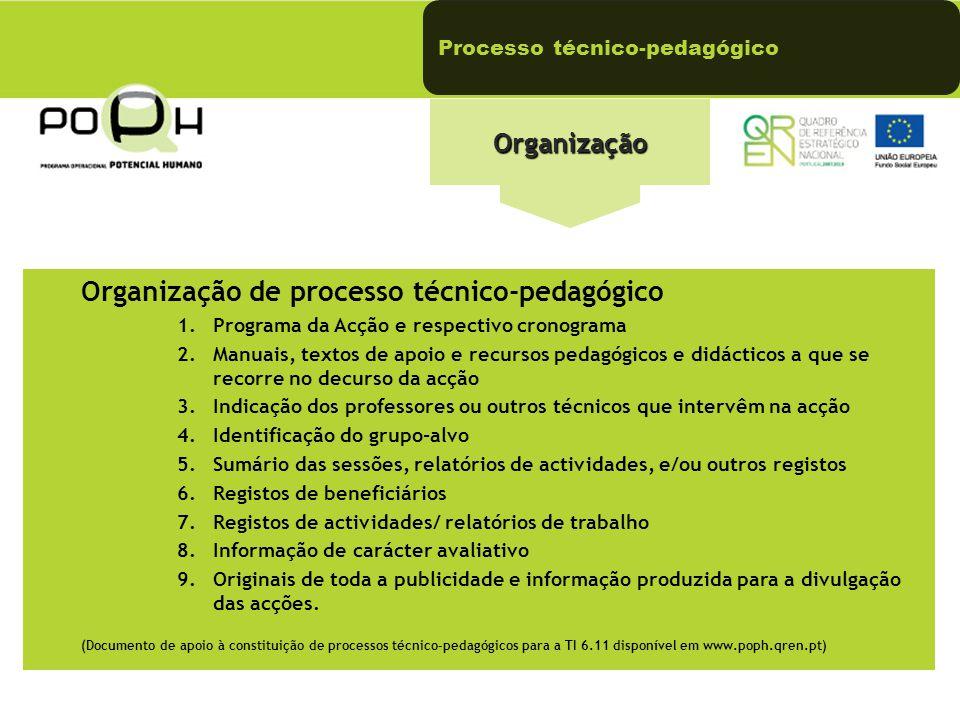 Processo técnico-pedagógicoOrganização Organização de processo técnico-pedagógico 1.Programa da Acção e respectivo cronograma 2.Manuais, textos de apo