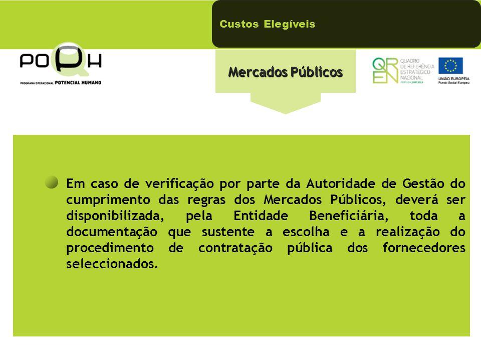 Custos Elegíveis Mercados Públicos Em caso de verificação por parte da Autoridade de Gestão do cumprimento das regras dos Mercados Públicos, deverá ser disponibilizada, pela Entidade Beneficiária, toda a documentação que sustente a escolha e a realização do procedimento de contratação pública dos fornecedores seleccionados.