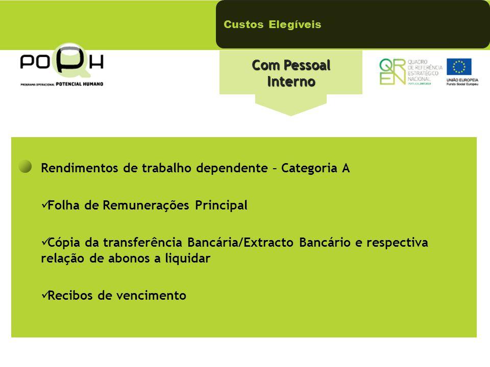 Com Pessoal Interno Rendimentos de trabalho dependente – Categoria A Folha de Remunerações Principal Cópia da transferência Bancária/Extracto Bancário