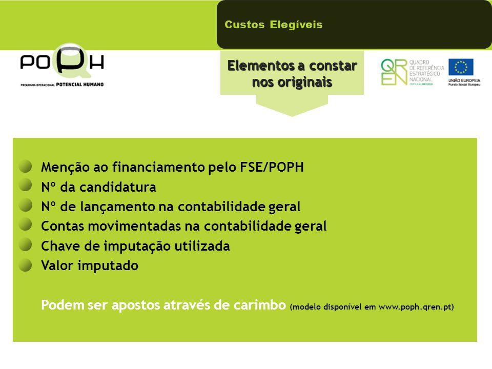 Elementos a constar nos originais Menção ao financiamento pelo FSE/POPH Nº da candidatura Nº de lançamento na contabilidade geral Contas movimentadas