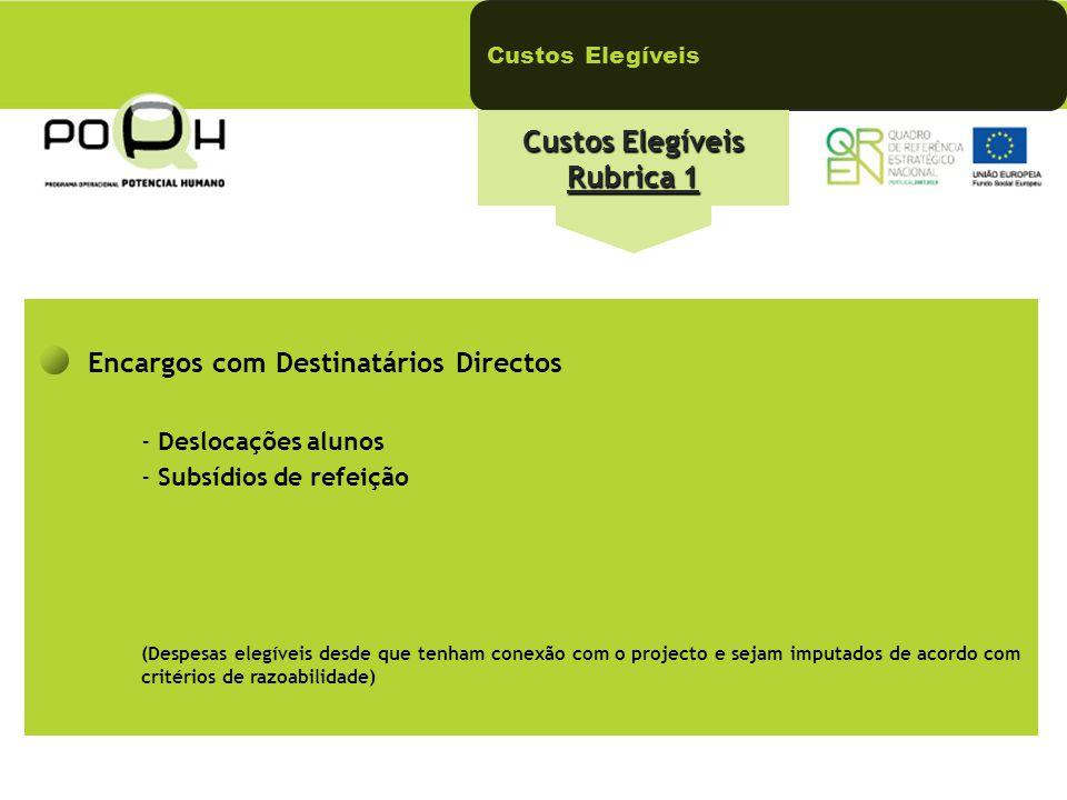 Custos Elegíveis Rubrica 1 Encargos com Destinatários Directos - Deslocações alunos - Subsídios de refeição (Despesas elegíveis desde que tenham conex