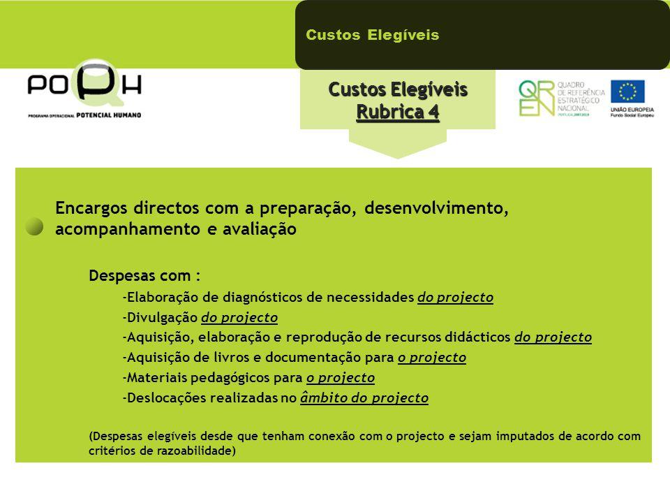 Custos Elegíveis Rubrica 4 Custos Elegíveis Encargos directos com a preparação, desenvolvimento, acompanhamento e avaliação Despesas com : -Elaboração
