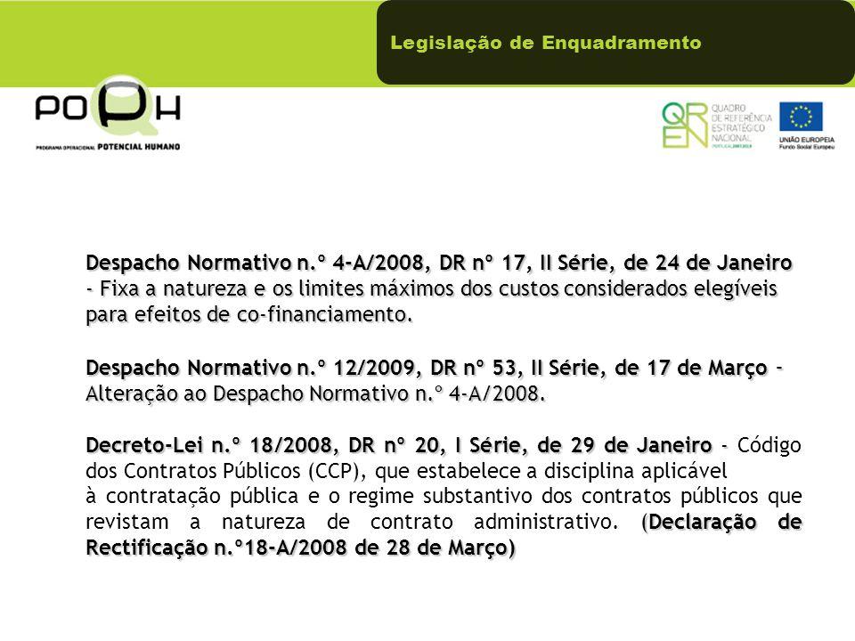 Despacho Normativo n.º 4-A/2008, DR nº 17, II Série, de 24 de Janeiro - Fixa a natureza e os limites máximos dos custos considerados elegíveis para efeitos de co-financiamento.