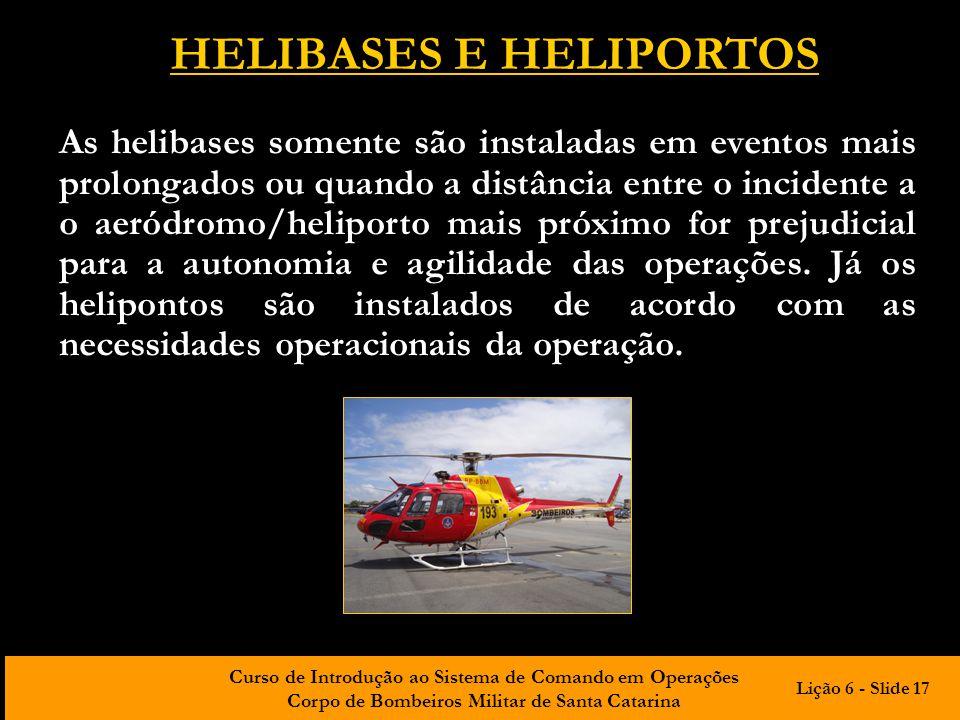 Curso de Introdução ao Sistema de Comando em Operações Corpo de Bombeiros Militar de Santa Catarina HELIBASES E HELIPORTOS As helibases somente são in