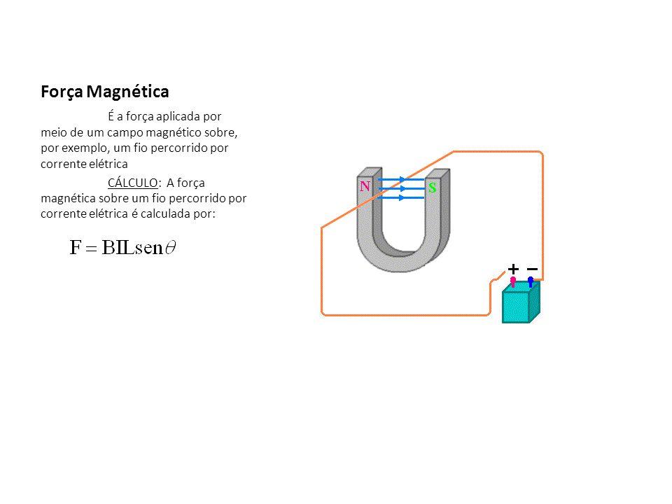 Força Magnética É a força aplicada por meio de um campo magnético sobre, por exemplo, um fio percorrido por corrente elétrica CÁLCULO: A força magnéti