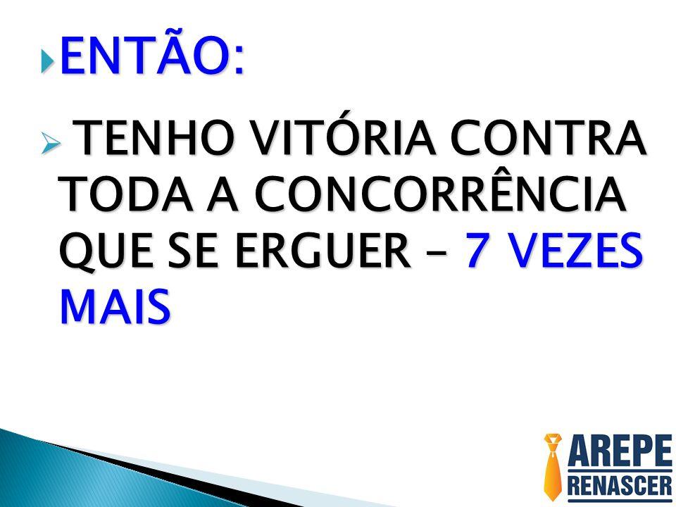 ENTÃO: ENTÃO: TENHO VITÓRIA CONTRA TODA A CONCORRÊNCIA QUE SE ERGUER – 7 VEZES MAIS TENHO VITÓRIA CONTRA TODA A CONCORRÊNCIA QUE SE ERGUER – 7 VEZES M
