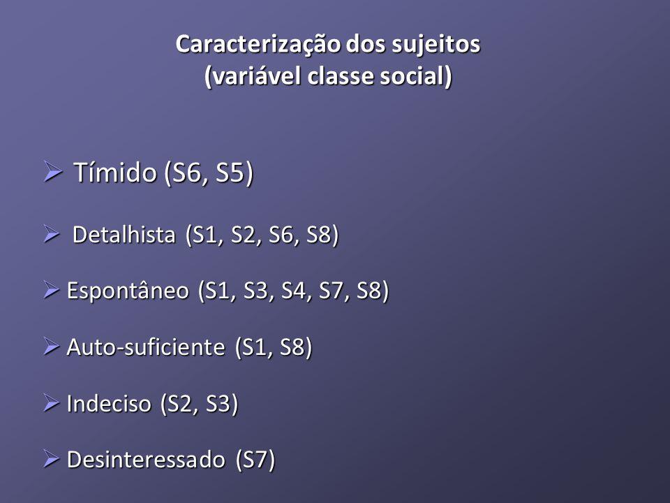 Caracterização dos sujeitos (variável classe social) Tímido (S6, S5) Tímido (S6, S5) Detalhista (S1, S2, S6, S8) Detalhista (S1, S2, S6, S8) Espontâneo (S1, S3, S4, S7, S8) Espontâneo (S1, S3, S4, S7, S8) Auto-suficiente (S1, S8) Auto-suficiente (S1, S8) Indeciso (S2, S3) Indeciso (S2, S3) Desinteressado (S7) Desinteressado (S7)