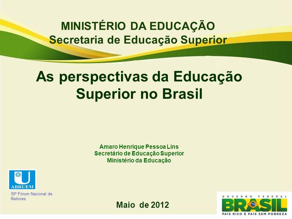 MINISTÉRIO DA EDUCAÇÃO Secretaria de Educação Superior As perspectivas da Educação Superior no Brasil Amaro Henrique Pessoa Lins Secretário de Educaçã