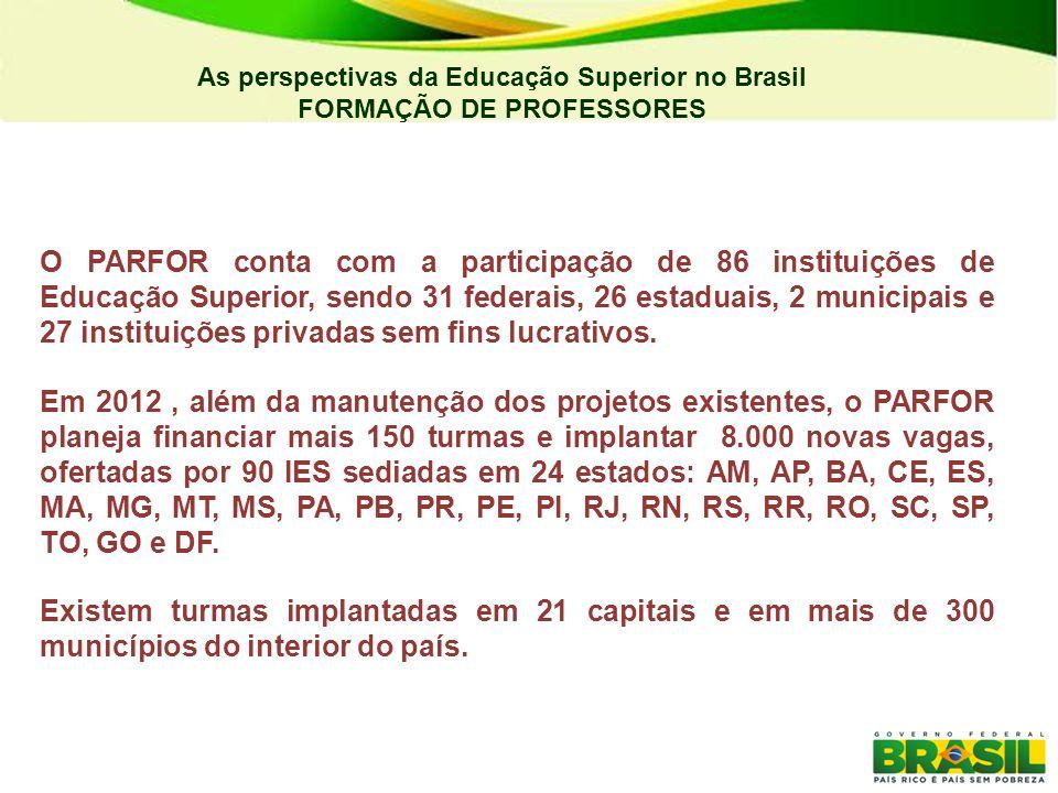 UAB – Cursos por modalidade MODALIDADEIESCURSOSALUNOS Aperfeiçoamento41123 15.230 Bacharelado4156 21.155 Especialização61210 55.811 Extensão1216 3.571 Formação Pedagógica22 166 Licenciatura69236 104.707 Sequencial22 691 Tecnólogo1314 5.522 Total81659 206.853 Fonte: SisUAB As perspectivas da Educação Superior no Brasil FORMAÇÃO DE PROFESSORES Outra frente de formação de professores se dá via UAB (Universidade Aberta do Brasil), operacionalizado pela CAPES.