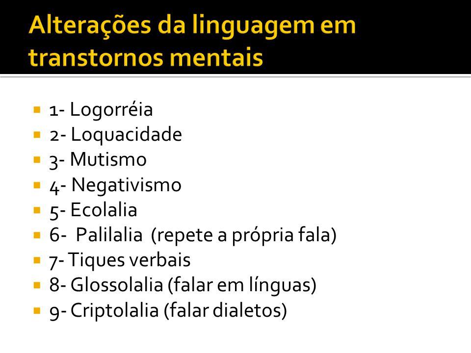 1- Logorréia 2- Loquacidade 3- Mutismo 4- Negativismo 5- Ecolalia 6- Palilalia (repete a própria fala) 7- Tiques verbais 8- Glossolalia (falar em línguas) 9- Criptolalia (falar dialetos)