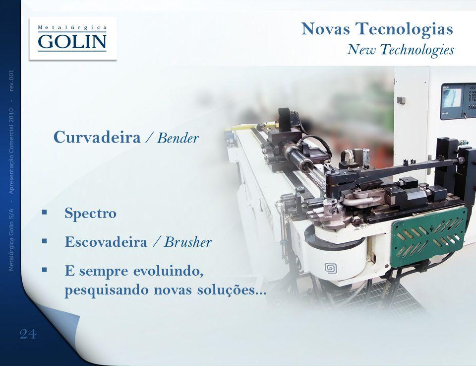 Spectro Escovadeira / Brusher E sempre evoluindo, pesquisando novas soluções... Novas Tecnologias New Technologies 24 Curvadeira / Bender