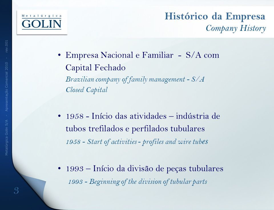 Histórico da Empresa Company History Empresa Nacional e Familiar - S/A com Capital Fechado Brazilian company of family management - S/A Closed Capital