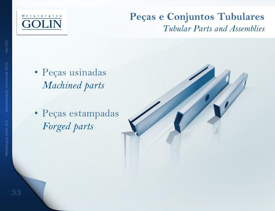 Peças e Conjuntos Tubulares Tubular Parts and Assemblies 33 Peças usinadas Machined parts Peças estampadas Forged parts