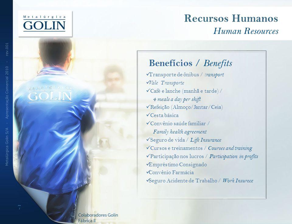 7 Recursos Humanos Human Resources Benefícios / Benefits Transporte de ônibus / transport Vale Transporte Café e lanche (manhã e tarde) / 4 meals a da