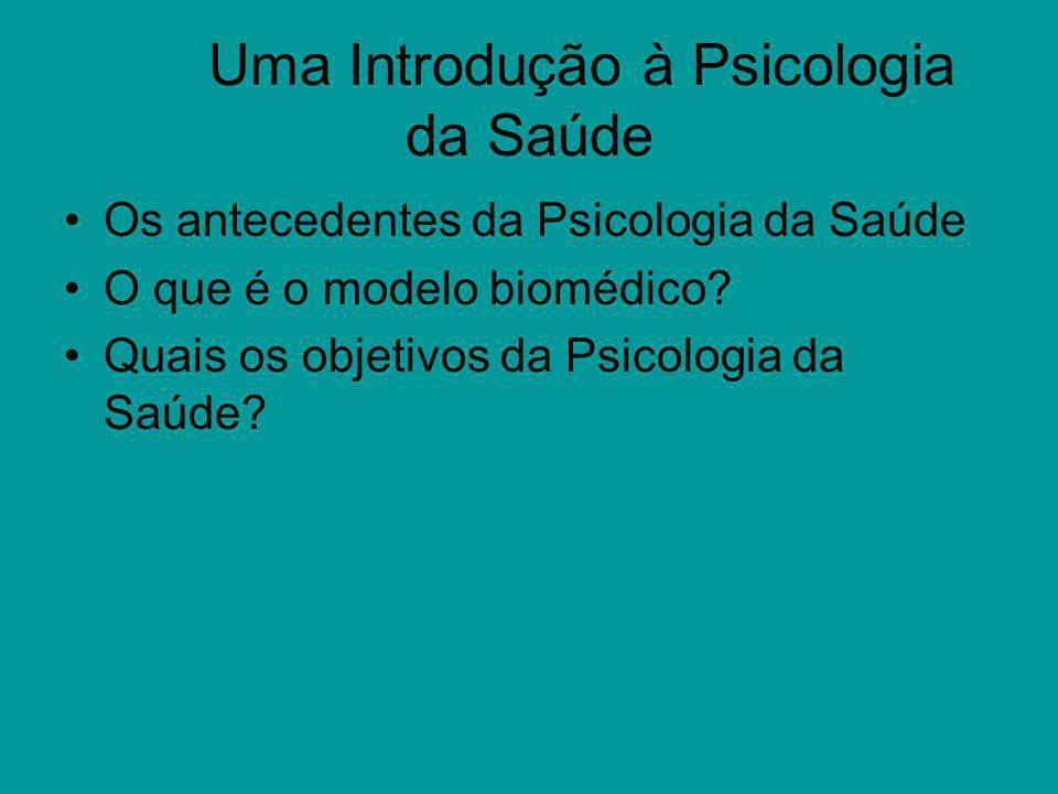 Uma Introdução à Psicologia da Saúde Os antecedentes da Psicologia da Saúde O que é o modelo biomédico? Quais os objetivos da Psicologia da Saúde?