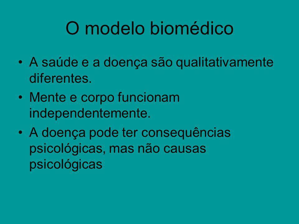 O modelo biomédico A saúde e a doença são qualitativamente diferentes. Mente e corpo funcionam independentemente. A doença pode ter consequências psic