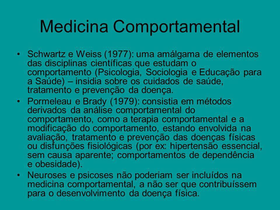 Psicologia da Saúde Mtarazzo (1980): o conjunto das contribuições específicas, educacionais, científicas e práticas da Psicologia, para a promoção e manutenção da saúde, prevenção e tratamento da doença e disfunções relacionadas.