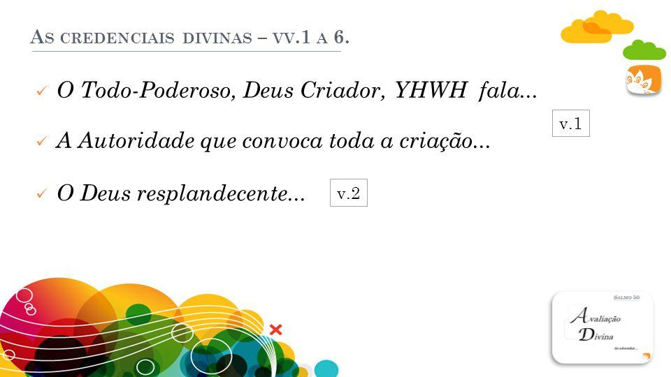 A S CREDENCIAIS DIVINAS – VV.1 A 6.O Todo-Poderoso, Deus Criador, YHWH fala...