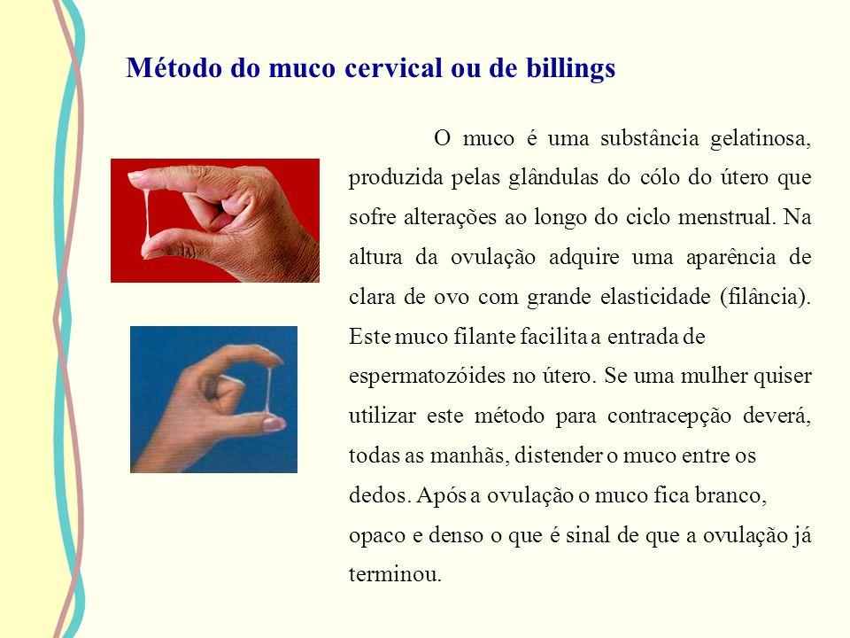 Método do muco cervical ou de billings O muco é uma substância gelatinosa, produzida pelas glândulas do cólo do útero que sofre alterações ao longo do
