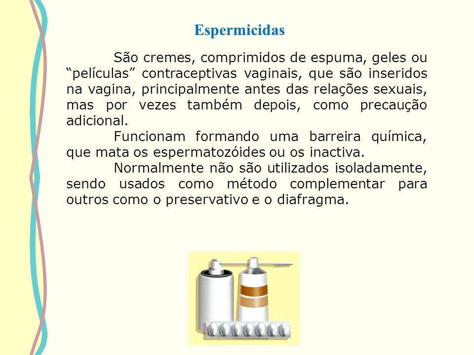 Espermicidas São cremes, comprimidos de espuma, geles ou películas contraceptivas vaginais, que são inseridos na vagina, principalmente antes das rela