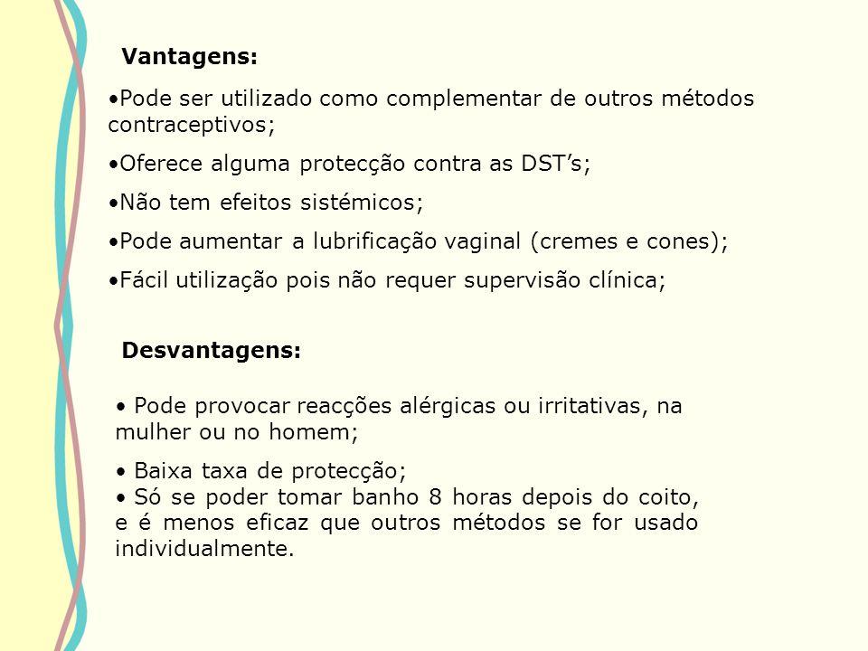 Vantagens: Pode ser utilizado como complementar de outros métodos contraceptivos; Oferece alguma protecção contra as DSTs; Não tem efeitos sistémicos;