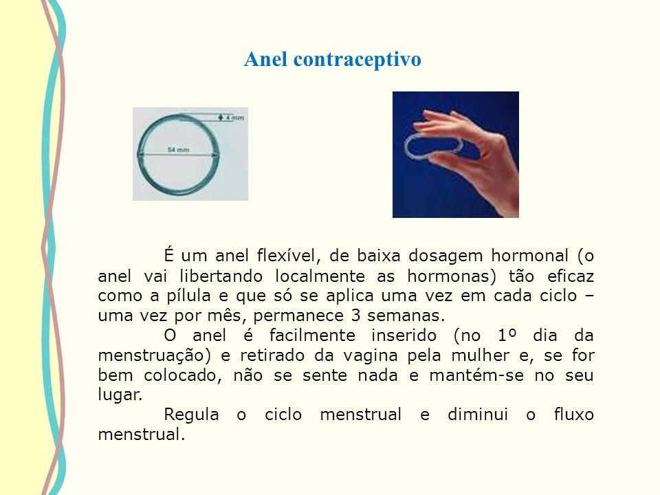 Anel contraceptivo É um anel flexível, de baixa dosagem hormonal (o anel vai libertando localmente as hormonas) tão eficaz como a pílula e que só se a