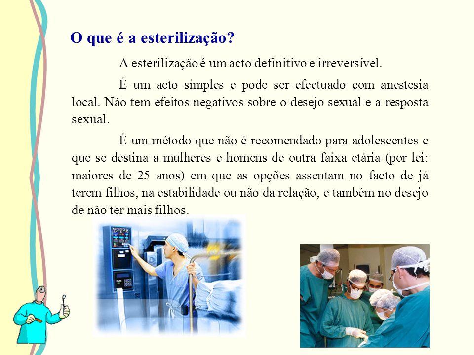 O que é a esterilização? A esterilização é um acto definitivo e irreversível. É um acto simples e pode ser efectuado com anestesia local. Não tem efei