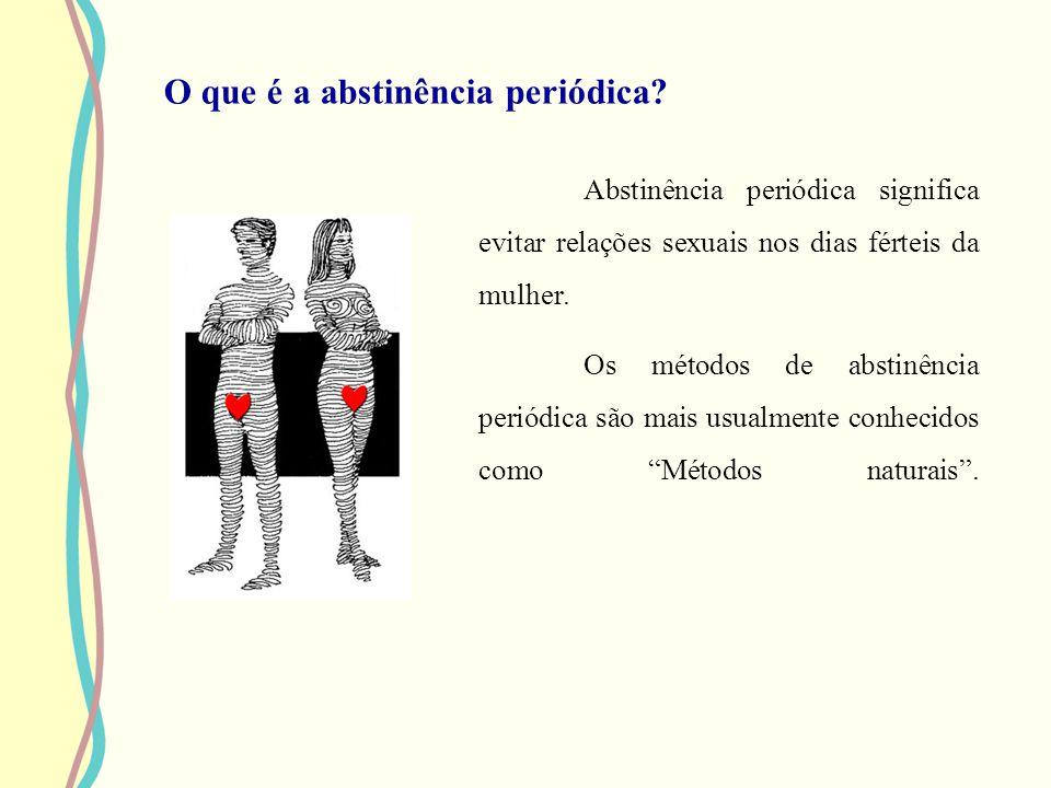 O que é a abstinência periódica? Abstinência periódica significa evitar relações sexuais nos dias férteis da mulher. Os métodos de abstinência periódi