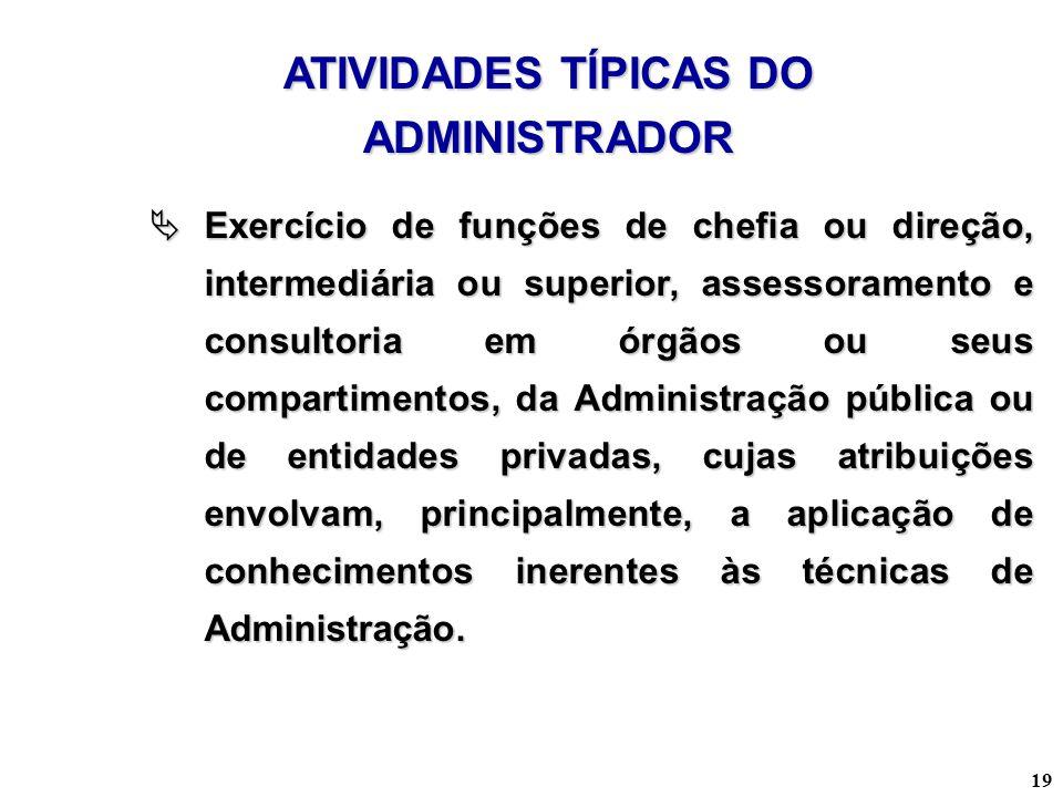 19 Exercício de funções de chefia ou direção, intermediária ou superior, assessoramento e consultoria em órgãos ou seus compartimentos, da Administraç