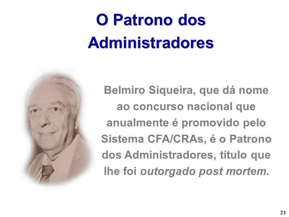 21 O Patrono dos Administradores Belmiro Siqueira, que dá nome ao concurso nacional que anualmente é promovido pelo Sistema CFA/CRAs, é o Patrono dos