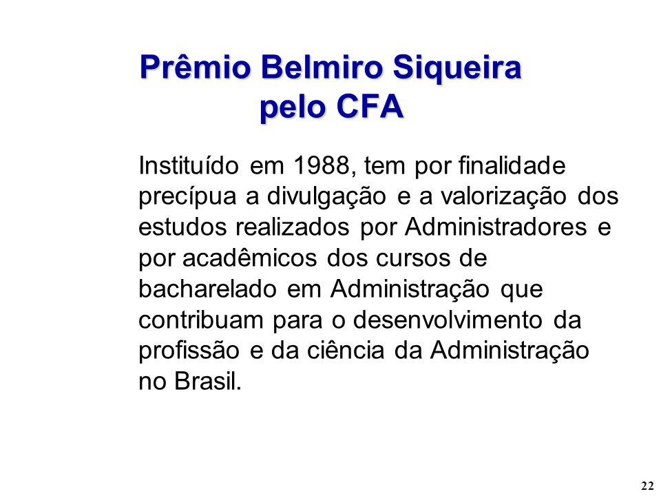 22 Prêmio Belmiro Siqueira pelo CFA Instituído em 1988, tem por finalidade precípua a divulgação e a valorização dos estudos realizados por Administra