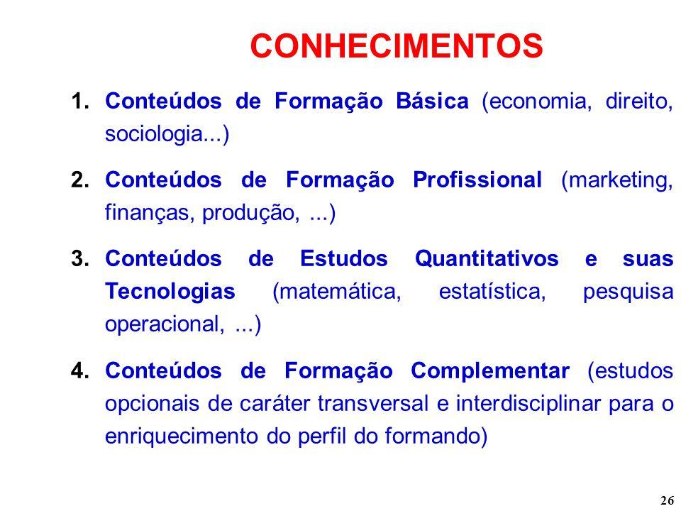 26 CONHECIMENTOS 1.Conteúdos de Formação Básica (economia, direito, sociologia...) 2.Conteúdos de Formação Profissional (marketing, finanças, produção