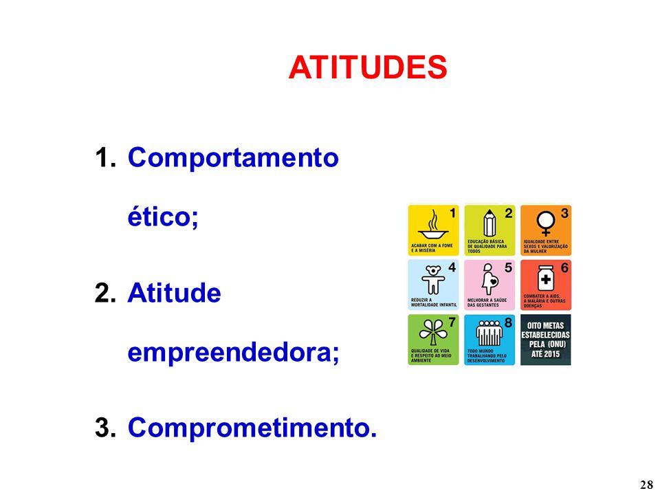 28 ATITUDES 1.Comportamento ético; 2.Atitude empreendedora; 3.Comprometimento.