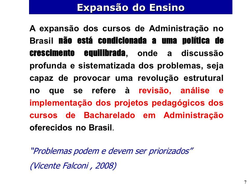 7 A expansão dos cursos de Administração no Brasil não está condicionada a uma política de crescimento equilibrada, onde a discussão profunda e sistem
