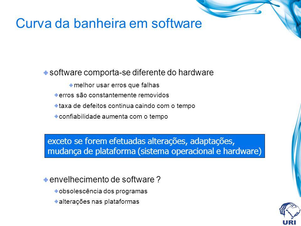Curva da banheira em software software comporta-se diferente do hardware melhor usar erros que falhas erros são constantemente removidos taxa de defeitos continua caindo com o tempo confiabilidade aumenta com o tempo envelhecimento de software .