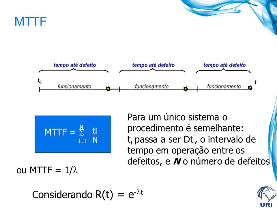 MTTF N i=1 ti N MTTF = ou MTTF = 1/ Considerando R(t) = e - t Para um único sistema o procedimento é semelhante: t i passa a ser Dt i, o intervalo de tempo em operação entre os defeitos, e N o número de defeitos
