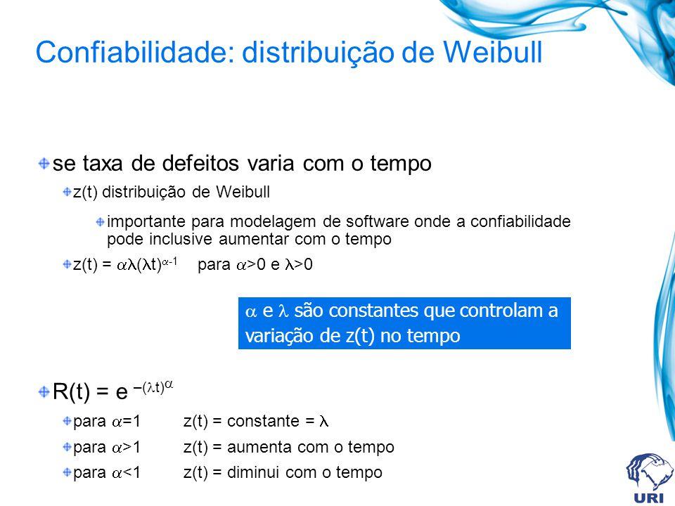 Confiabilidade: distribuição de Weibull se taxa de defeitos varia com o tempo z(t) distribuição de Weibull importante para modelagem de software onde a confiabilidade pode inclusive aumentar com o tempo z(t) = ( t) -1 para >0 e >0 R(t) = e –( t) para =1 z(t) = constante = para >1 z(t) = aumenta com o tempo para <1 z(t) = diminui com o tempo e são constantes que controlam a variação de z(t) no tempo