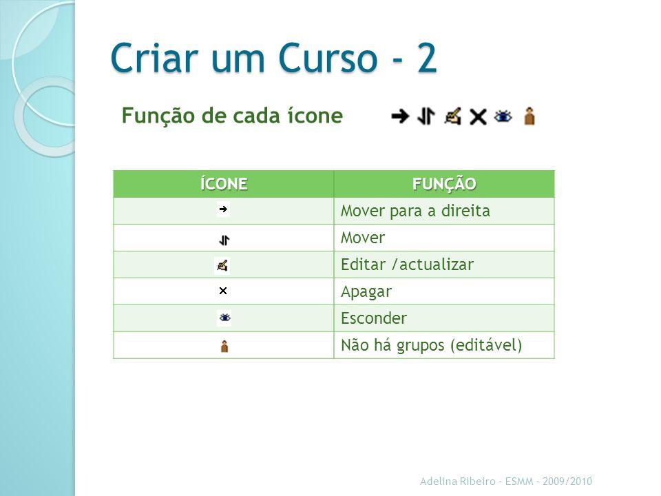 Adelina Ribeiro - ESMM - 2009/2010 Criar um Curso - 2 Função de cada íconeÍCONEFUNÇÃO Mover para a direita Mover Editar /actualizar Apagar Esconder Não há grupos (editável)