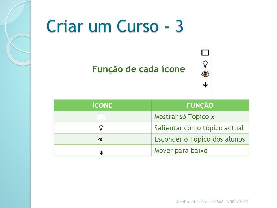 Criar um Curso - 3 Adelina Ribeiro - ESMM - 2009/2010 Função de cada ícone ÍCONEFUNÇÃO Mostrar só Tópico x Salientar como tópico actual Esconder o Tópico dos alunos Mover para baixo