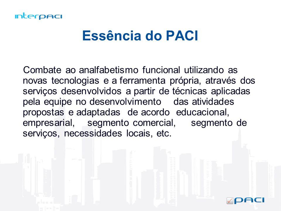 Essência do PACI Combate ao analfabetismo funcional utilizando as novas tecnologias e a ferramenta própria, através dos serviços desenvolvidos a parti