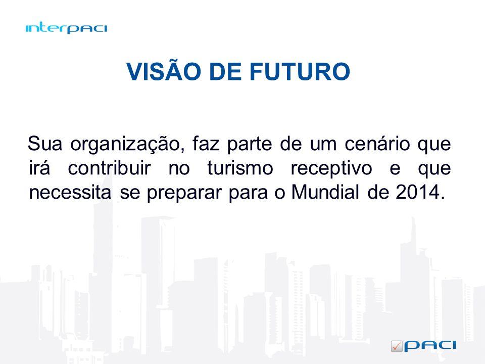 Sua organização, faz parte de um cenário que irá contribuir no turismo receptivo e que necessita se preparar para o Mundial de 2014. VISÃO DE FUTURO