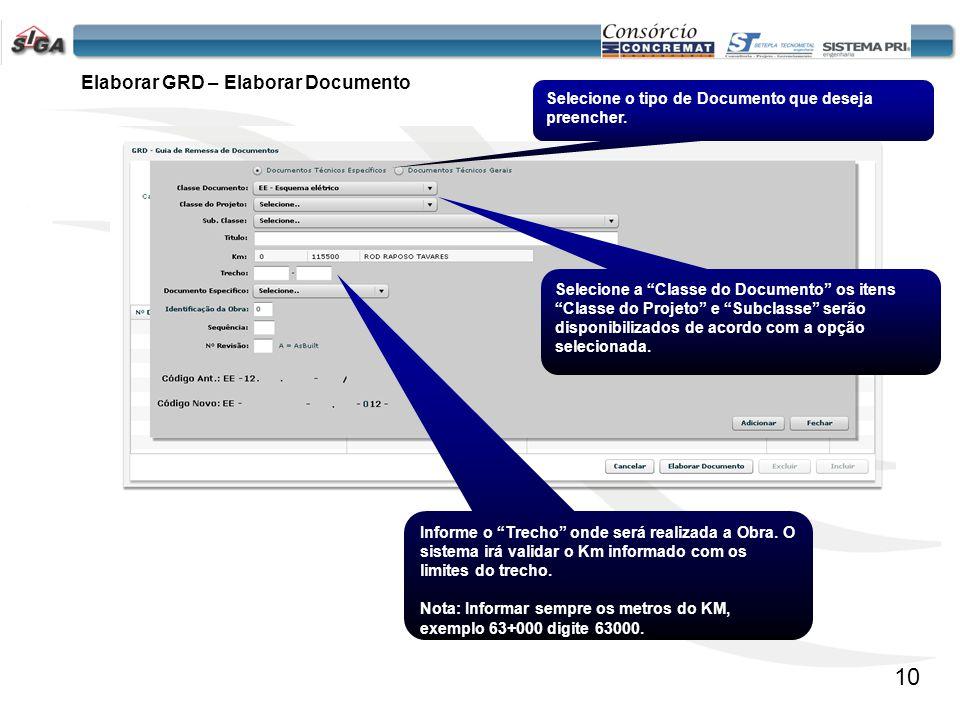 11 Documento Específico Mantém uma lista de itens pré-definidos. Elaborar GRD – Elaborar Documento